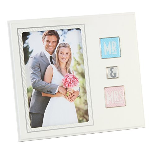 Faonline New View Shiny Squares photo Frame – Mr & Mrs 20 cm