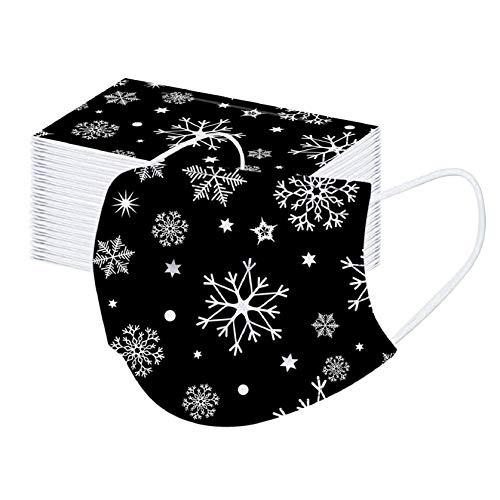 50 Stück Einmal-Mundschutz, Einweg Erwachsene Mundschutz mit Motiv Weihnachten Bunt MNS Mund Nasenschutz 3 Lagig Atmungsaktiv Bandana Halstuch für...