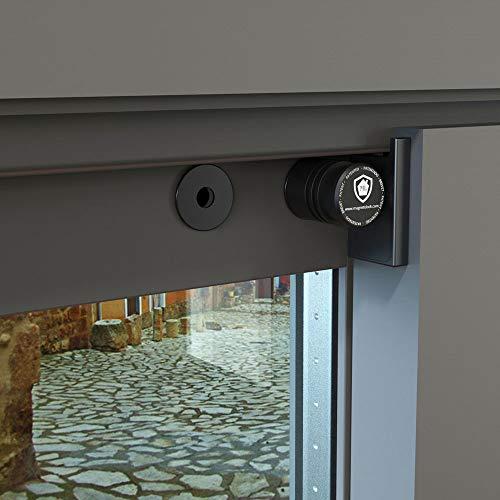 Magnetolock V2.0 (Negro).Bloqueo de seguridad para ventanas y puertas correderas. Bloqueo con ventana cerrada y abierta. Ajustable posición de ventilación para seguridad niños, bebé y mascotas.