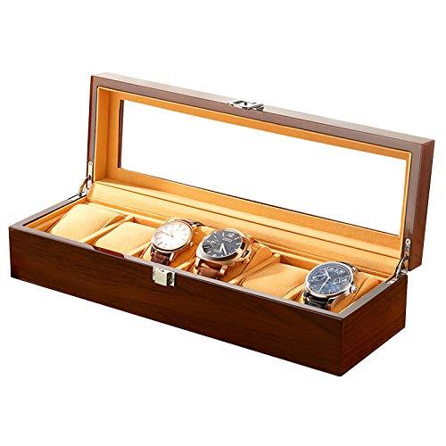 Organizador de Caja de Reloj de Madera Maciza con Pantalla de Vidrio, Caja de Almacenamiento de Reloj de 6 Rejillas para Mujeres y Hombres, Almohada de Reloj extraíble, marrón