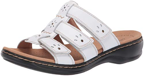 Clarks Women's Leisa Spring Sandal, White Leather, 100 W US