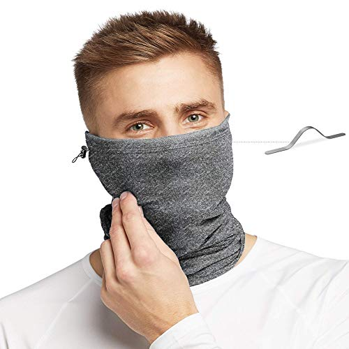 UPF 50+ Neck Gaiter with Filter, Drawstring & Nose Clip (Heather Grey) – Lightweight, Breathable Multi-Use Face Mask for Men & Women