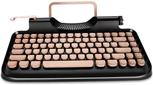 Rymek - Tastiera meccanica con cavo e senza fili con supporto per tablet, connessione Bluetooth (v1, Black)