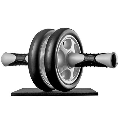 Ultrasport Bauchtrainer AB Wheel,Bauchmuskeltrainer für Zuhause, zum Trainieren von Bauchmuskeln, Rücken & Schultern,Oberkörper-Roller inkl. Kniematte,platzsparendes Sportgerät,rutschfeste Griffe