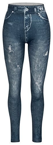 Piarini Damen Jeggings körperbetont - Winter Denim-Leggings warmer Innenfleece - Treggings mit Skinny Schnitt - Blau L/XL