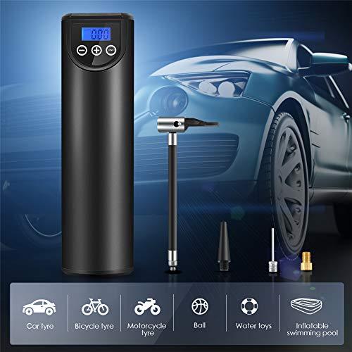 S SMAUTOP Mini Digital Luftpumpe 2000mAH 150PSI Tragbarer Elektrischer Luftkompressor Intelligentes LCD-Echtzeit-Reifendruckanzeige Wiederaufladbare Luftpumpe für Fahrräder, Motorräder, Autos, Bälle