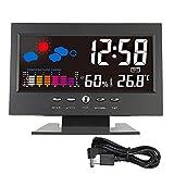 xiaokeai Higrómetro LCD Indoor Digital Termómetro Higrómetro Reloj Despertador Calendario Estación meteorológica Desk Reloj Temperatura Humedad Meter Barómetro Térmometros de Interior