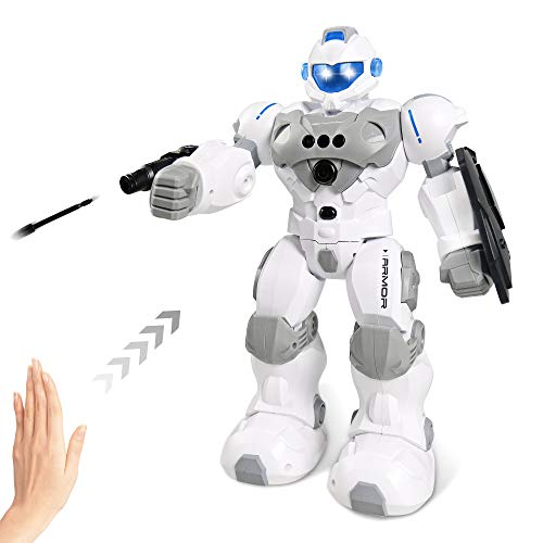 Intelligent Gesture Robot Toy, RC Robot Rechargeable with Protective Shield & Launcher, Remote...