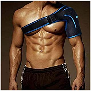 Shoulder Brace for Women and Men Light and Breathable Neoprene Shoulder Support Premium Quality Strap for Shoulder Pain Copper Compression Recovery (Blue)