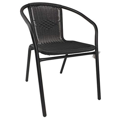 thesecrethome.es Silla Armada Metal Mimbre PVC Negro. Ideal para Jardin O TERRAZA. (72x58x54 cm)