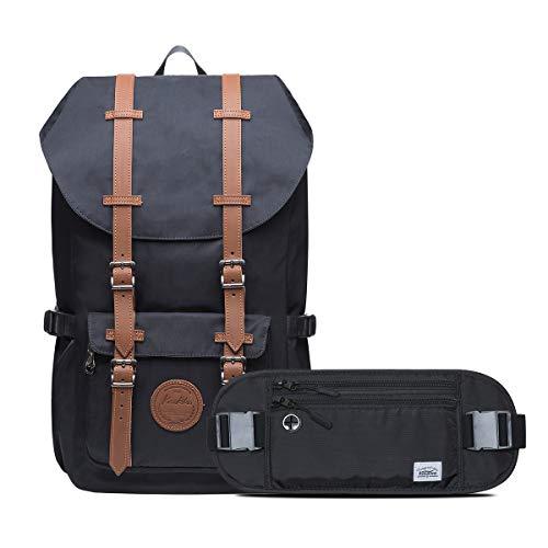 KAUKKO Laptop Outdoor Backpac, Traveling Rucksack Fits 15.6 Inch Laptop (11-Black[2pc])