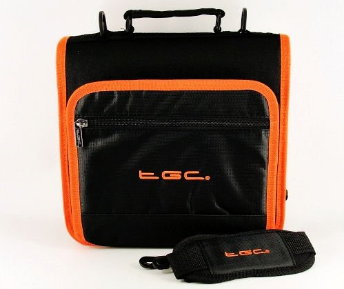Nieuwe schoudertas voor de Philips PET1002 draagbare DVD-speler van TGC ®, Jet Zwart met Hot Orange Trim