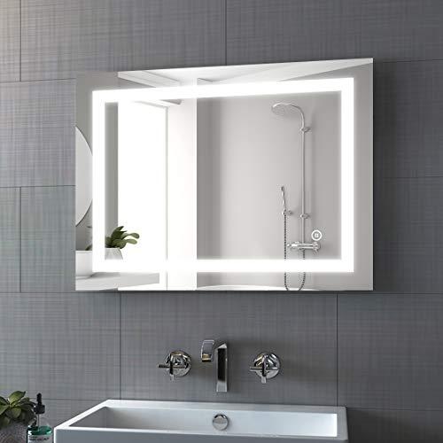 Bath-mann LED Badspiegel 80x60cm mit Beleuchtung Dimmbar Badezimmerspiegel Spiegel mit Touch Lichtschalter, Beschlagfrei Wandspiegel Horizontal oder Vertikal Lichtspiegel