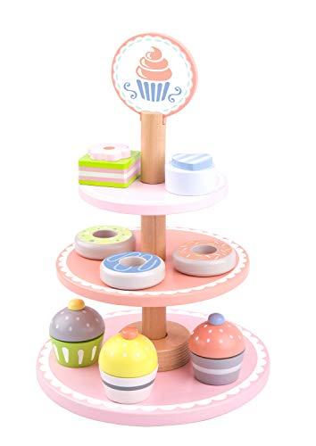 Tooky Toy Holz Nachtisch-Etagere - Dessert Ständer mit Cupcakes, Kuchen und Schokolade - Holzspielzeug für Kinder ab 3 Jahren - ca. 19 x 37 cm (Durchmesser und Höhe)