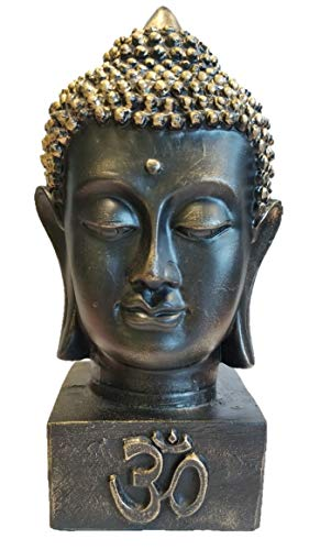 RK Collections 7.5' Buddha Bust Head Statue | Idol | Decorative Figurine in Elegant Black with Brushed Bronze Finish in Meditation Pose (7.5' Buddha Bust Black with Brushed Bronze)