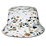 TTLUCKY Sombrero de Pesca,Fondo Colorido del Vector del azulejo del Mosaico del terrazo,Senderismo para Hombres y Mujeres al Aire Libre Sombrero de Cubo Sombrero para el Sol