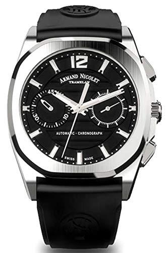 Reloj armand nicolet j09 a654aaa-nr-gg4710n cronógrafo automático orologio Uomo Analogico Automatico con cinturino in Gomma A654AAA-NR-GG4710N