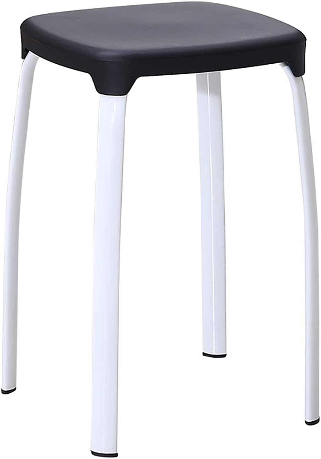 FW Plastic Padded Stool, Home Fashion shoes Bench Adult Table Stool color Stool, Multi-color Selection (color   Black, Size   Two)
