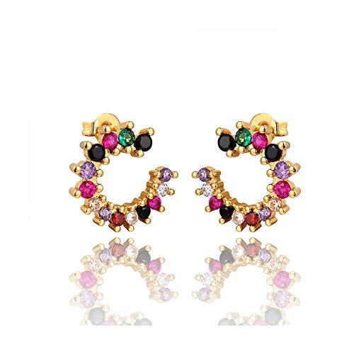 Pendientes de tuerca con diseño de estrella distante arcoíris y circonita para mujer, de oro rosa, E1204