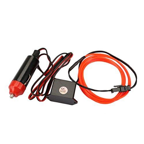 Vorcool - Tubo LED flexible El Wire con cable de contacto de potencia y controlador de decoración para el coche (rojo)