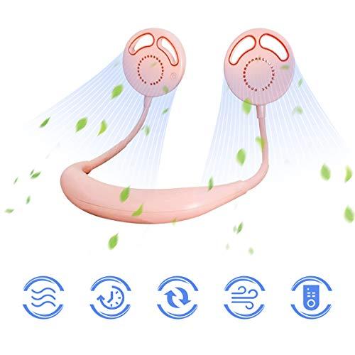 Ventilador Sin Cuchilla USB Portátil, 2020 Nuevo Mini Cuello Ventilador de Rechargeable, 3 Velocidades y Cabeza Ajustable para Oficina, Deportes al Aire Libre