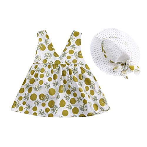 Ärmelloses Sling-Polka-Dot-Print-Bowknot-Kleid für Baby-Mädchen Prinzessin Rock Strohhut
