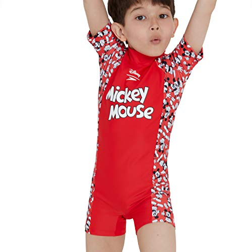 Speedo Kids' Disney Mickey Mouse Unisex Child All-in- one Costume, Risk Red/Black/White, 3 YRS