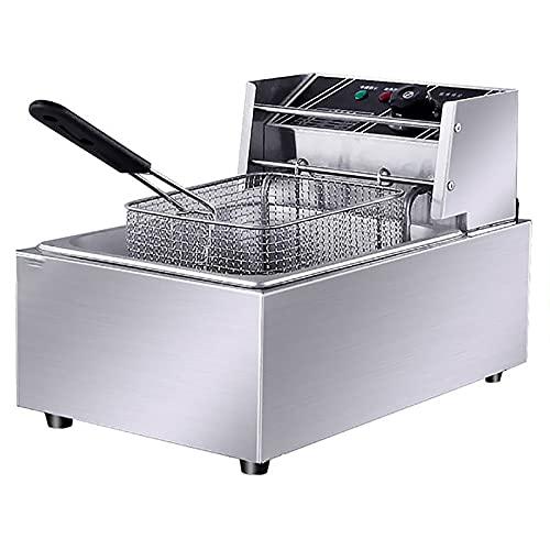 Freidora Comercial Acero Inoxidable, 6L 2500W Fryer Grasa Eléctrica Eléctrica Para Cocinar Fritas Francesas Home Restaurant