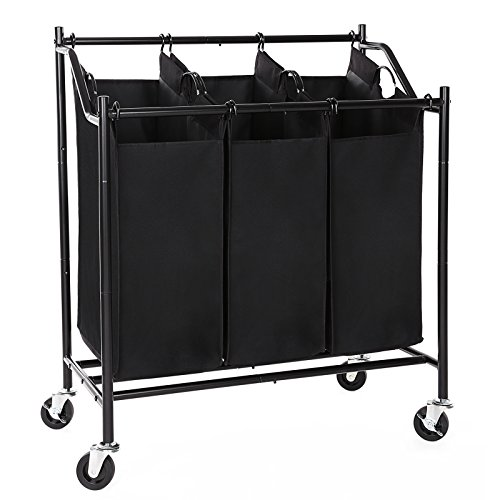 SONGMICS Laundry Cart Sorter on Wheels, with 3 Removable Bags, Black