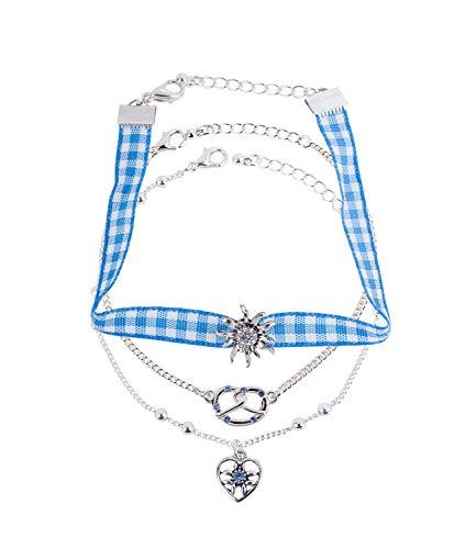 SIX 3er Set Oktoberfest Armbänder in Silber, Wiesn, WASN, Dirndl, Edelweiß, Verkleidung, Kostüm, Karneval, Fasching (782-772)
