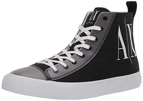 Armani Exchange High Top Cotton Sneakers, Zapatillas Altas Hombre, Negro (Black+White Logo 00002), 44.5 EU