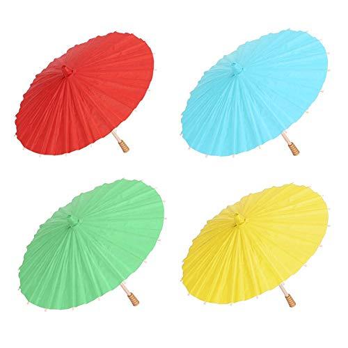 Parapluie en Papier Vierge Chinois Handmake Parasol Parapluie en Papier à l'huile pour Enfants DIY Peinture Classique Costumes de Danse Cosplay Photographie Décor avec 4 Couleurs(黄色)