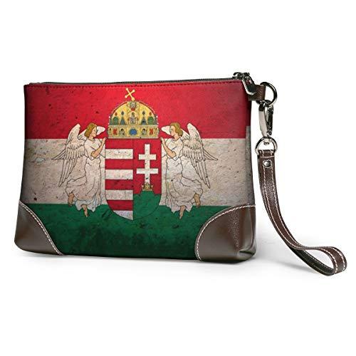 Echt lederen portemonnees voor vrouwen Rits rond Polsband Lange portemonnee Vintage Embossing Koeienhuid Capaciteit Handgemaakte Koppeling Hongarije Vlag