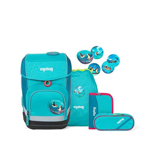 ergobag cubo Set - ergonomischer Schulrucksack, Set 5-teilig - Hula HoopBär - Blau
