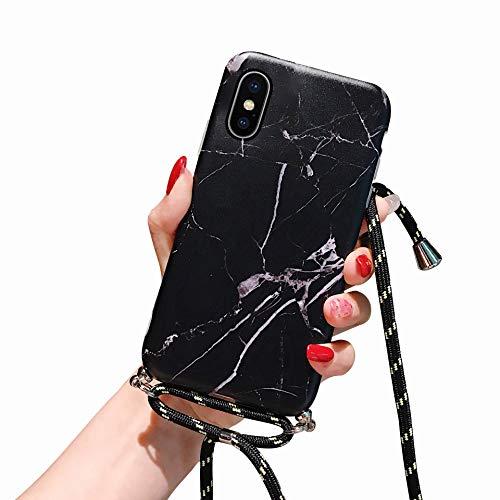 Oihxse Coque Mode de Motif Marbre Compatible pour iPhone X/XS 5.8'' Silicone TPU Souple avec Cordon Etui Case Anti-Choc Paillette Brillant Marbre Bumper Cover avec Collier Lanyard (A11)