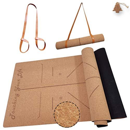GOLDEN® Kork Yogamatte / Yogamatte aus Kork und Kautschuk, Rutschfest / Fitnessmatte / Sportmatte für zuhause, XL 183cm*66cm*4.0mm