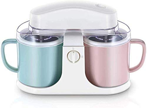 Atten Ice Cream Maker Ice Cream Crusher Ice Shaver Maker Yogurt Machine Milkshake Maker Electric Ice Crusher Double Barrel Capacity, Two Flavors