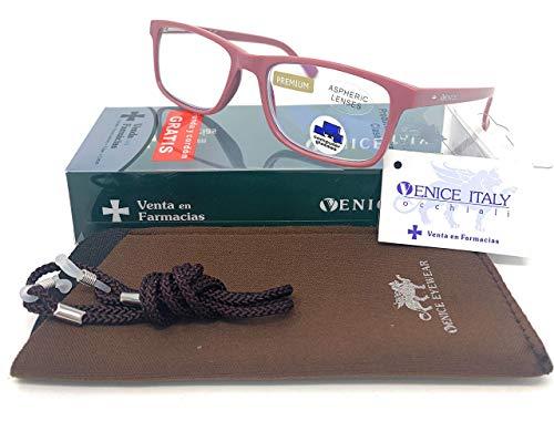 Gafas ver de cerca, lectura con Filtro Luz Azul, Ordenador Gaming Móvil, Protección Antifatiga - Venice Coti Dioptría (1- 1,50 - 2 - 2,50 - 3 - 3,50) (Milky, Graduación +2,00)