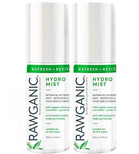 RAWGANIC Verfrissende Hydro Mist | Zachte Revitaliserende en Hydraterende Organische Spray Mist | Met Aloë Vera, Komkommer en Groene Thee | Set van 2 x 100ml flessen set of 2 bottles