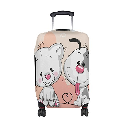 U LIFE Cute Cat And Dog Best Friend Luggage Suitcase Cover Protector for Travel