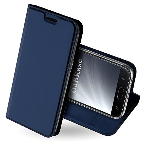 OJBKase Galaxy J4 2018 Hülle, Premium Slim PU Leder Handy Schutzhülle [Standfunktion] Hülle/Cover/Brieftasche/Ledertasche Bookstyle Tasche Lederhülle Handyhülle für Samsung Galaxy J4 2018 (Blau)