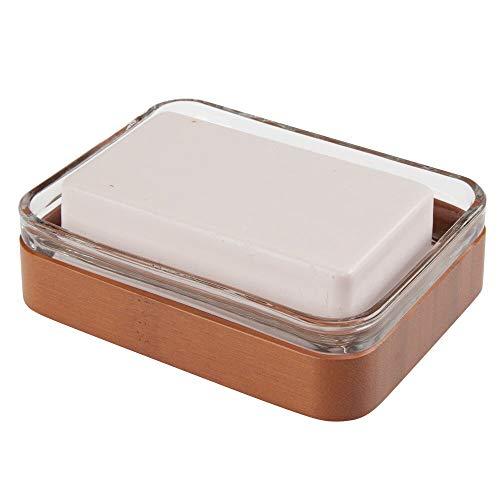 mDesign Portasapone design in bambù e vetro – Funzionale vaschetta per sapone ecologica – Porta sapone per il bagno e la cucina – trasparente e marrone ciliegio