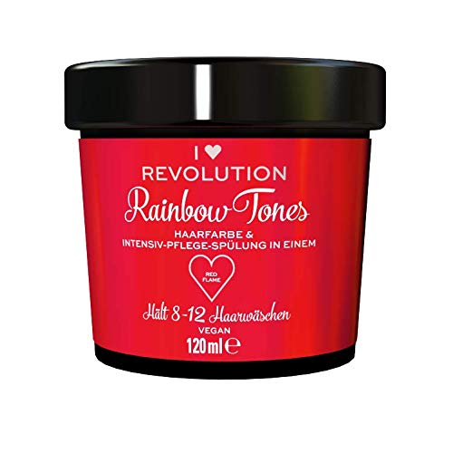 I Heart Revolution Rainbow Tones Red Flame - semi permanente Haarfarbe und Pflegespülung in einem, auswaschbar mit 8-12 Haarwäschen - vegan, mehrfach verwendbar, 120ml