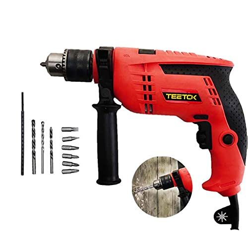 650W Hammer Drill Electric Cored Drill, 240V Hand Impact Drill with Drill Bits Set, Variable 6 Speeds
