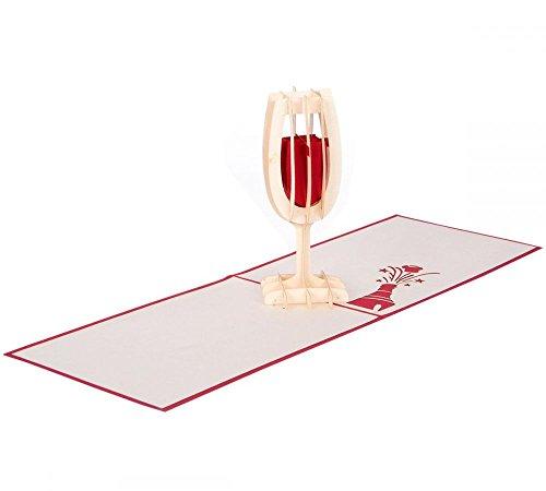 Sektglas - Klappkarte / 3D Pop-Up Karte - Geburtstagskarte, Grußkarte, Geldgeschenk, Glückwunschkarte, Einladungskarte zum Geburtstag, zu einer Feier oder zum Essen