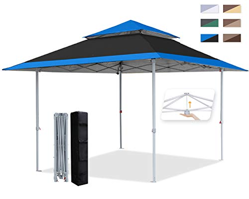 COOSHADE (Black and Blue 13x13Ft Pop Up Canopy Tent Instant Folding Shelter 169 Square Feet Large Outdoor Sun Protection Shade