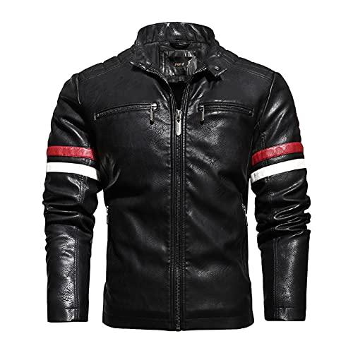 ZDSKSH Chaqueta de cuero bordada de la motocicleta de la motocicleta del hombre de la chaqueta de cuero de la costura, impermeable y