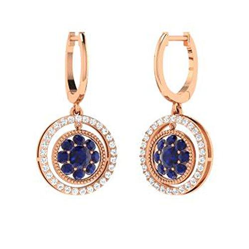 Dividiamonds - Pendientes de gota para mujer (1,96 quilates, diseño de zafiro y diamantes D VVS1, chapados en oro sólido de 14 quilates