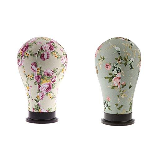 Sharplace 2 Femme Modèle Tête en Toile Imprimee Floral pour Affichage de Perruque Chapeau Casquette- Beige et vert