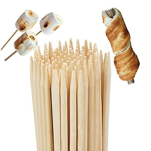 Relaxdays bambú para Pan (200 Unidades, 90 cm de Largo, Pinchos para malvavisco, Hoguera, brochetas para Barbacoa, 5 mm de diámetro), Color Natural, Naturaleza, 200er Set